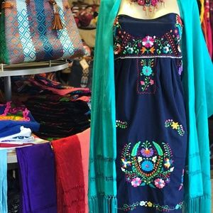 Mexican Traditional Strapless Dress Embroidered